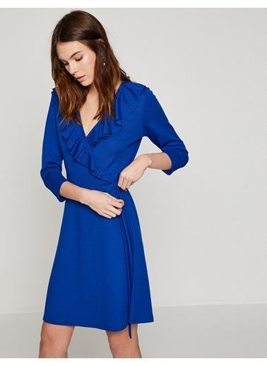 Koton V Yaka Volanlı Mini Elbise Mavi